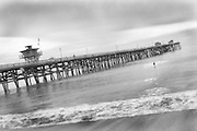 Black And White Vintage Photo Of San Clemente Pier