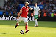 Aaron Ramsey of Wales in action. UEFA Euro 2016, last 16 , Wales v Northern Ireland at the Parc des Princes in Paris, France on Saturday 25th June 2016, pic by  Andrew Orchard, Andrew Orchard sports photography.