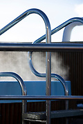Close-up of hot tub railing on ship during winter, Scenic winter landscape, Nesna, Norway