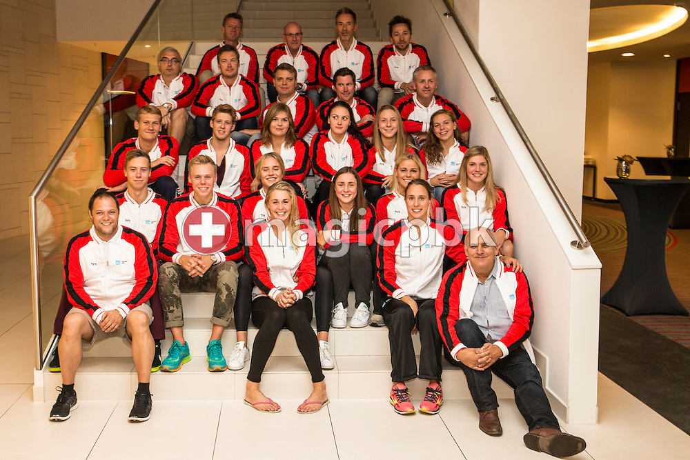 Team Denmark poses for a team photo after the LEN European Swimming Championships at Europa-Sportpark in Berlin, Germany, Sunday, Aug. 24, 2014. (Photo by Patrick B. Kraemer / MAGICPBK)
