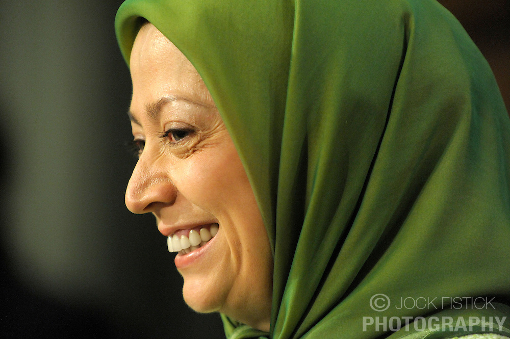 Maryam Rajavi, president of the National Council of Resistance of Iran, smiles during a press conference, prior to attending a rally where thousands of Iranians from all over Europe who gathered in front of the European Commission to show support for the Iranian resistance movement and to celebrate the removal of the PMOI (People's Mujahideen Organization of Iran) from the EU's  list of terrorist organization, in Brussels, Belgium, Tuesday, Jan. 27, 2009. (Photo / Jock Fistick)