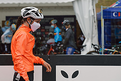 Elise Chabbey (SUI) makes her way to the team presentation at the 2020 UEC Road European Championships - Elite Women Road Race, a 109.2 km road race in Plouay, France on August 27, 2020. Photo by Sean Robinson/velofocus.com