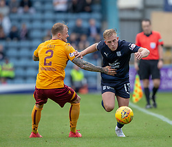 Motherwell's Richard Tait an dDundee's Calvin Miller. Dundee 1 v 3 Motherwell, SPFL Ladbrokes Premiership game played 1/9/2018 at Dundee's Kilmac stadium Dens Park