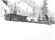 """RGS 2-8-0 #13 with flanger in deep snow.<br /> RGS  Pandora, CO  Taken by Virden, Walter<br /> In book """"RGS Story, The Vol II: Telluride, Pandora and the Mines Above"""" page 284"""