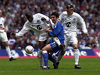 Photo: Greig Cowie<br /> Cardiff v QPR. 2nd Division Playoff Final, Millenium Stadium Cardiff. 25/05/2003<br /> Paul Furlong clatters into Gareth Whalley