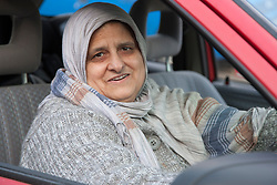 Elderly south Asian woman sitting in a car.