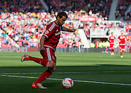 Middlesbrough FC striker Christian Stuani crosses the ball during the Sky Bet Championship match between Middlesbrough and Leeds United at the Riverside Stadium, Middlesbrough, England on 27 September 2015. Photo by George Ledger.