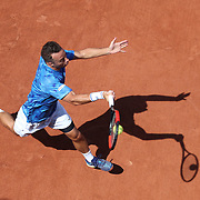 2017 French Open Tennis Tournament - Day Three.  Philipp Kohlschreiber of Germany  in action against Nick Kyrgios of Australia on court two during the Men's Singles round one match at the 2017 French Open Tennis Tournament at Roland Garros on May 30th, 2017 in Paris, France.  (Photo by Tim Clayton/Corbis via Getty Images)