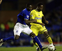Photo. Aidan Ellis.<br />Everton v Charlton. <br />Carling Cup Round 3.<br />29/10/2003.<br />Everton's Alex Nyarko and Charlton's Jason Euell