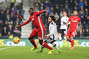Cardiff City defender Sol Bamba (14) during the EFL Sky Bet Championship match between Derby County and Cardiff City at the Pride Park, Derby, England on 14 February 2017. Photo by Jon Hobley.