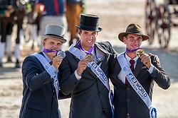 Team Belgium, Bronze Medal, Glenn Geerst, Edouard Simonet, Dries Degrieck<br /> World Equestrian Games - Tryon 2018<br /> © Hippo Foto - Dirk Caremans<br /> 23/09/2018