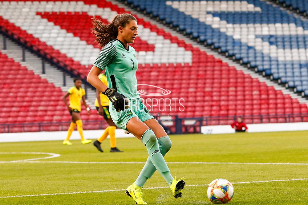 Jamaica's Keeper Sydney SCHNEIDER (Univ. North Carolina (USA)) during the International Friendly match between Scotland Women and Jamaica Women at Hampden Park, Glasgow, United Kingdom on 28 May 2019.