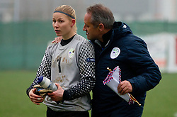 Lucija Mori and head coach of Slovenia Darko Zizek during football match between Women national teams of Slovenia and Netherlands in 4th Round of EURO 2013 Qualifications, on November 19, 2011 in Ivancna Gorica, Slovenia. Netherlands defeated Slovenia 2-0. (Photo By Vid Ponikvar / Sportida.com)