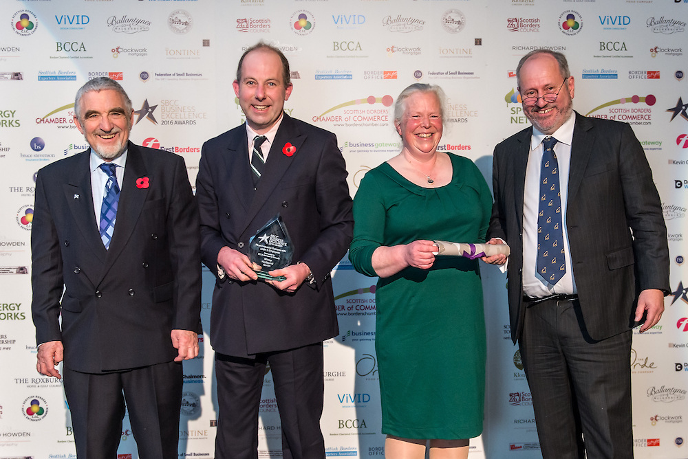 Scottish Borders Business Excellence Awards 2016,  Most Innovative Business with under 5 Employees. Sponsored by BCCA, Newtown St Boswells. Winner ~ Hardiesmill, Gordon.<br /> <br /> The 2016 Scottish Border Business Excellence Awards, held at Springwood Hall, Kelso. The awards were run by the Scottish Borders Chambers of Commerce, with guest speaker Councillor Stuart Bell, BSC Executive Member for Economic Development.  The SBCC chairman Jack Clark and the presenter Fiona Armstrong co hosted the event.
