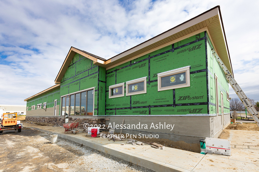 Exterior work in progress at building site of new physical therapy and wellness center.