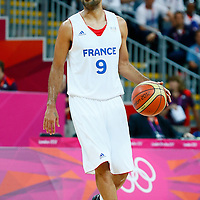 06 August 2012: France Tony Parker brings the ball upcourt during 79-73 Team France victory over Team Nigeria, during the men's basketball preliminary, at the Basketball Arena, in London, Great Britain.