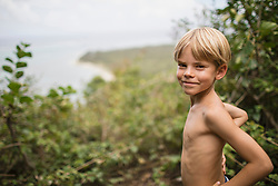 Portrait of a boy in the wilderness, Mauritius