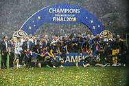 France players celebrate with the trophy after winning the 2018 FIFA World Cup Russia, final football match between France and Croatia on July 15, 2018 at Luzhniki Stadium in Moscow, Russia - Photo Thiago Bernardes / FramePhoto / ProSportsImages / DPPI