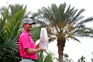 May 13, 2018; Ponte Vedra Beach, FL, USA; Webb Simpson celebrates winning The Players Championship golf tournament at TPC Sawgrass - Stadium Course. Mandatory Credit: Peter Casey-USA TODAY Sports