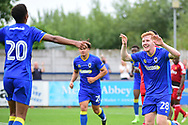 AFC Wimbledon Midfielder Alfie Egan (28) celebrates his goal 3-2 during the Pre-Season Friendly match between AFC Wimbledon and Watford at the Cherry Red Records Stadium, Kingston, England on 15 July 2017. Photo by Jon Bromley.