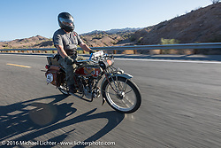 Kelly Modlin of Kansas riding his 1914 Excelsior as he leaves Lake Havasu City during the Motorcycle Cannonball Race of the Century. Stage-14 ride from Lake Havasu CIty, AZ to Palm Desert, CA. USA. Saturday September 24, 2016. Photography ©2016 Michael Lichter.