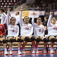 Members of Pine Hill's volleyball team hold one finger up to symbolize match point against Quemado Friday morning at the Santa Ana Star Center in the NMAA Class 1A State Volleyball tournament in Rio Rancho.