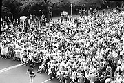 Women's Peace March In Dublin  (K50)..1976..28.08.1976..08.28.1976..28th August 1976..As part of the Peace Movement, set up by Ms Betty Williams and Ms Mairead Maguire in Northern Ireland, a march was organised for Dublin. Thousands of women took part in the march from St Stephen's Green, Dublin to the seat of government in Leinster House on Merrion Square, Dublin, to protest the continuing violence within the country..Picture shows the vast number of women who took part in the peace march in Dublin today.