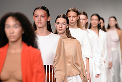 Model on the catwalk during the Paula Knorr London Fashion Week SS18 show held at the BFC Show Space, London. Picture date: day month, 2017. Photo credit should read: Doug Peters/EMPICS Entertainment