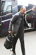 Wolverhampton Wanderers manager Nuno Espirito Santo acknowledges the fans as he arrives during the The FA Cup fourth round match between Shrewsbury Town and Wolverhampton Wanderers at Greenhous Meadow, Shrewsbury, England on 26 January 2019.