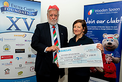 Wooden Spoon Devon receive a cheque for £2166 from Doreen Murray at the annual Exeter Chiefs Foundation Christmas Dinner at Sandy Park - Ryan Hiscott/JMP - 07/12/2018 - RUGBY - Sandy Park - Exeter, England - Exeter Chiefs Foundation Christmas Dinner with David Flatman