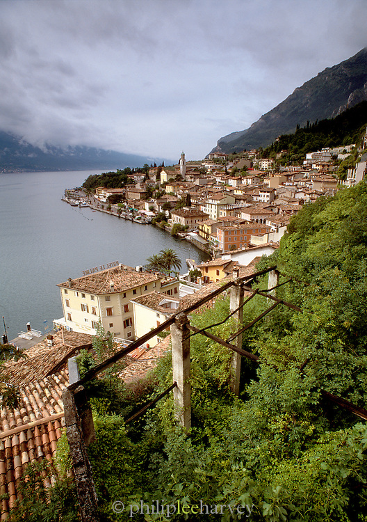 View of overgrown lemon farm, Limonde Sul Garda, Lake Garda. Italy