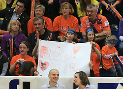 Fans of ACH and Matija Plesko at last final volleyball match of 1.DOL Radenska Classic between OK ACH Volley and Salonit Anhovo, on April 21, 2009, in Arena SGS Radovljica, Slovenia. ACH Volley won the match 3:0 and became Slovenian Champion. (Photo by Vid Ponikvar / Sportida)