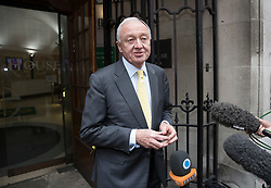 © Licensed to London News Pictures. 04/04/2017. London, UK. Former Mayor of London Ken Livingstone talks to reporters at Church House as he arrives to hear the result of a Labour Party disciplinary hearing. Mr Livingstone has been accused of anti-Semitism after comments he made in April 2016 claiming that Hitler supported Zionism in the 1930's. Photo credit: Peter Macdiarmid/LNP