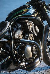 Tatsuya Fujii's (Duas Caras Cycles, Nagoya, Japan) entry in the Harley-Davidson Street 750 Build Off at Mooneyes Yokohama Hot Rod & Custom Show. Yokohama, Japan. December 5, 2015.  Photography ©2015 Michael Lichter.