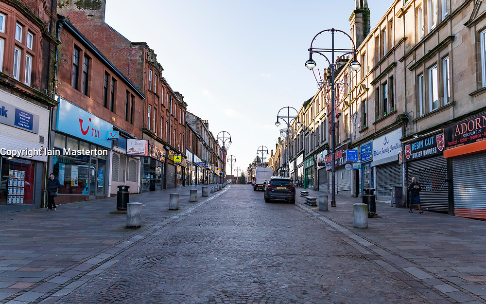 Hamilton, Scotland, UK. 25 November 2020. Hamilton in South Lanarkshire, very quiet during severe level 4 lockdown imposed by the Scottish Government.  Non essential businesses , bars, restaurants and shops are closed. Much of the central regions of Scotland are under the highest level of lockdown.  Credit.  Iain Masterton