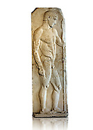 Severe Style (480 - 450 B.C, Greek Marble Funerary Stele of an athlete from Nisyros (Incir Ada) one of the Foça Islands, . Istanbul Archaeological Museum, Turkey. Inv. No 1142T. Cat. Mendel 11. .<br /> <br /> If you prefer to buy from our ALAMY STOCK LIBRARY page at https://www.alamy.com/portfolio/paul-williams-funkystock/greco-roman-sculptures.html- Type -    Istanbul    - into LOWER SEARCH WITHIN GALLERY box - Refine search by adding a subject, place, background colour, museum etc.<br /> <br /> Visit our CLASSICAL WORLD HISTORIC SITES PHOTO COLLECTIONS for more photos to download or buy as wall art prints https://funkystock.photoshelter.com/gallery-collection/The-Romans-Art-Artefacts-Antiquities-Historic-Sites-Pictures-Images/C0000r2uLJJo9_s0c
