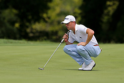 August 9, 2018 - St. Louis, Missouri, United States - Justin Thomas lines up a putt during the first round of the 100th PGA Championship at Bellerive Country Club. (Credit Image: © Debby Wong via ZUMA Wire)