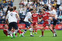 Middlesbrough's Grant Leadbitter makes his feelings known to Preston North End's Greg Cunningham after being fouled<br /> <br /> Photographer Kevin Barnes/CameraSport<br /> <br /> Football - The Football League Sky Bet Championship - Preston North End v Middlesbrough -  Sunday 9th August 2015 - Deepdale - Preston<br /> <br /> © CameraSport - 43 Linden Ave. Countesthorpe. Leicester. England. LE8 5PG - Tel: +44 (0) 116 277 4147 - admin@camerasport.com - www.camerasport.com