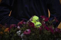 May 3, 2018 - Estoril, Portugal - An assistant holds the balls tduring the Millennium Estoril Open tennis tournament in Estoril, outskirts of Lisbon, Portugal on May 1, 2018  (Credit Image: © Carlos Costa/NurPhoto via ZUMA Press)