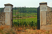 An iron gate to the vineyard Clos Pitois Premier Cru of Domaine Roger Belland in Santenay, Bourgogne