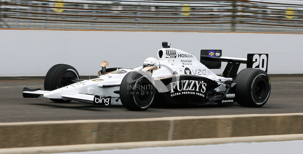 Scott Speed practices in the #20 Fuzzy's Ultra Premium Vodka special at the Indianapolis Motor Speedway in Indianapolis, Indiana...Photo by Brian Spurlock, Infiniti Images