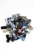 Mobile phone left on public transport in 1990, held in the Lost Property office of London Transport.<br /> About 184,000 items are left on London public transport systems every year, and they do the best they can to reunite passengers with their lost belongings!