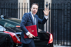 © Licensed to London News Pictures. 16/01/2018. London, UK. Secretary of State for Culture, Media and Sport Matt Hancock arrives on Downing Street for the weekly Cabinet meeting. Photo credit: Rob Pinney/LNP