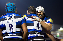 Dave Attwood of Bath Rugby celebrates a try with team-mates - Mandatory byline: Patrick Khachfe/JMP - 07966 386802 - 07/10/2016 - RUGBY UNION - The Recreation Ground - Bath, England - Bath Rugby v Sale Sharks - Aviva Premiership.
