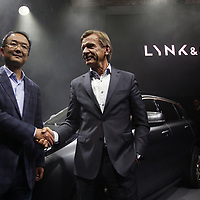 Mr An and Hakan Samuelsson at the press view of the 01 car during its launch in Gothenburg Sweden.China's Geely, owner of Volvo Cars and London Taxi Company, launch a new brand LYNK & CO to the world's media - with the 'world's most connected car'.  Pictured is the company's first model - the 01, designed by Brit, Peter Horbury.  STRICTLY EMBARGOED UNTIL 00.01HRS CET 20 OCTOBER 2016.FREE PHOTO David Cheskin.19.10.2016