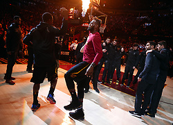 April 25, 2018 - Cleveland, OH, USA - The Cleveland Cavaliers' LeBron James does a handshake with teammate JR Smith prior to Game 5 of a first-round playoff series against the Indiana Pacers on Wednesday, April 25, 2018, at Quicken Loans Arena in Cleveland. (Credit Image: © Leah Klafczynski/TNS via ZUMA Wire)