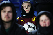 Aston Villa fan holds a football in the stand ahead of the Premier League match between Leicester City and Aston Villa at the King Power Stadium, Leicester, England on 9 March 2020.