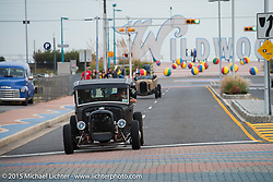 Friday afternoon druing the bike / car show before the Race of Gentlemen. Wildwood, NJ, USA. October 9, 2015.  Photography ©2015 Michael Lichter.