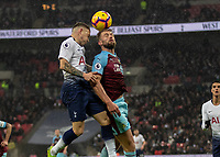 Football - 2018 / 2019 Premier League - Tottenham Hotspur vs. Burnley<br /> <br /> the whipped is cross is contested by competing players at Wembley Stadium.<br /> <br /> COLORSPORT/DANIEL BEARHAM