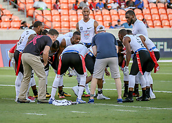 July 19, 2018 - Houston, TX, U.S. - HOUSTON, TX - JULY 19:  Fighting Cancer players form for the huddle during the American Flag Football League Ultimate Final game between the Fighting Cancer and Godspeed on July 19, 2018 at BBVA Compass Stadium in Houston, Texas.  (Photo by Leslie Plaza Johnson/Icon Sportswire) (Credit Image: © Leslie Plaza Johnson/Icon SMI via ZUMA Press)